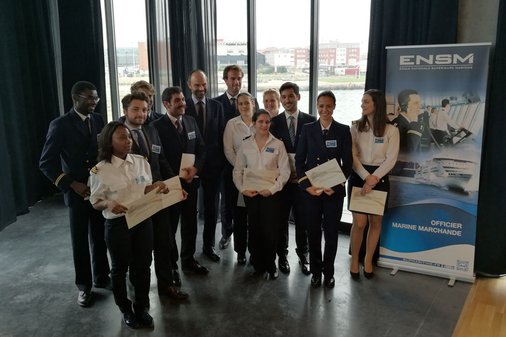 Prime Minister Edouard Philippe with ENSM Students