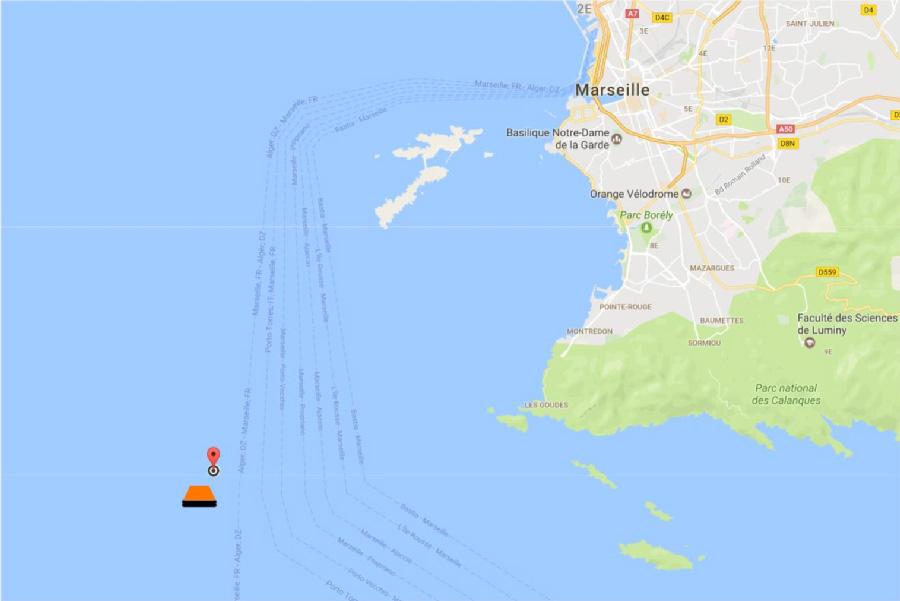Au Rad' Lo - Localisation du départ en mer